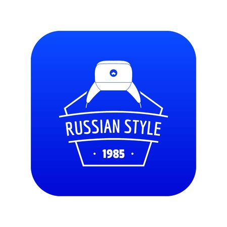 Russian style icon blue vector Illustration