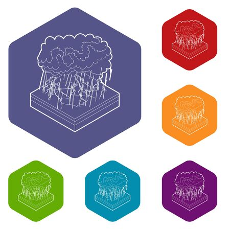 Thunderstorm icons vector colorful hexahedron set collection isolated on white
