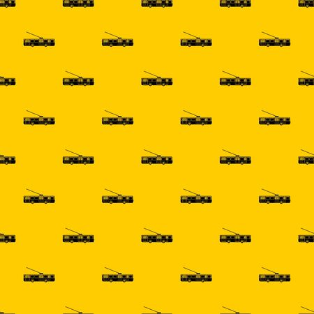 Trolleybus pattern seamless vector repeat geometric yellow for any design Ilustração