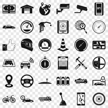 Garage icons set, simple style