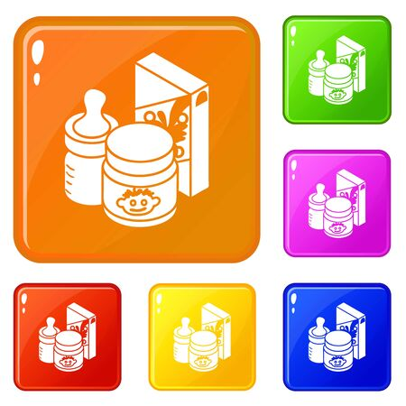 Baby food icons set vector color