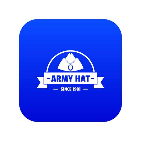 Army hat icon blue vector