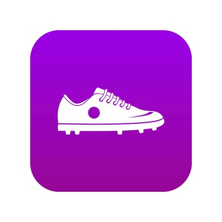 Soccer shoe icon digital purple for any design isolated on white vector illustration