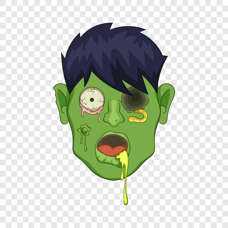 Zombie head icon. Cartoon illustration of zombie head vector icon for web