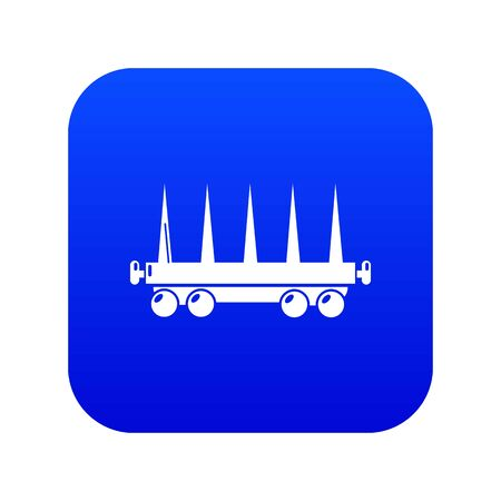 Delivery wagon icon blue vector