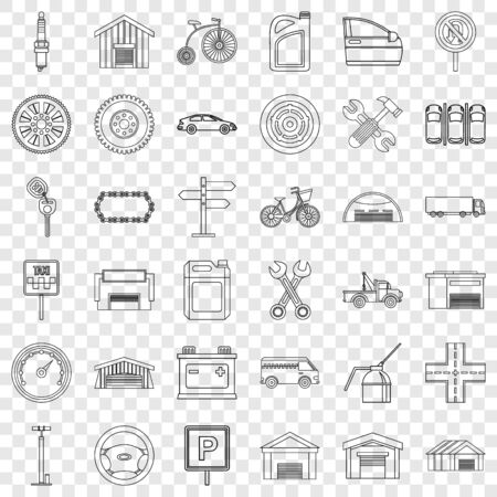 Truck icons set, outline style