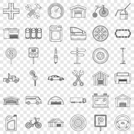 Towing icons set, outline style