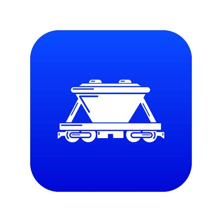 Goods train icon blue vector