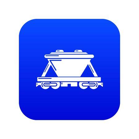 Goods train icon blue vector