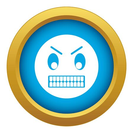 Angry emoticon blue vector isolated on white background for any design