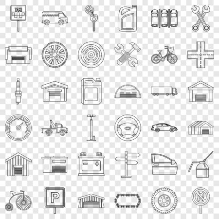 Gate icons set, outline style Illustration