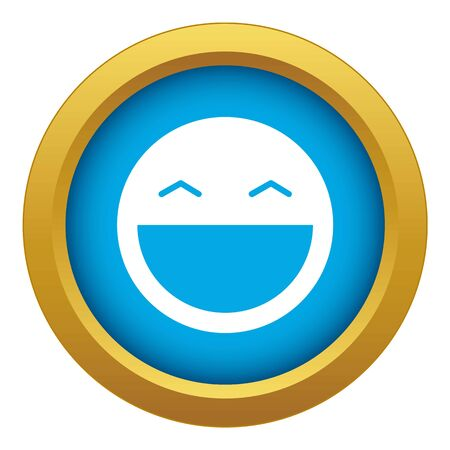 Laughing emoticon blue vector isolated on white background for any design Иллюстрация