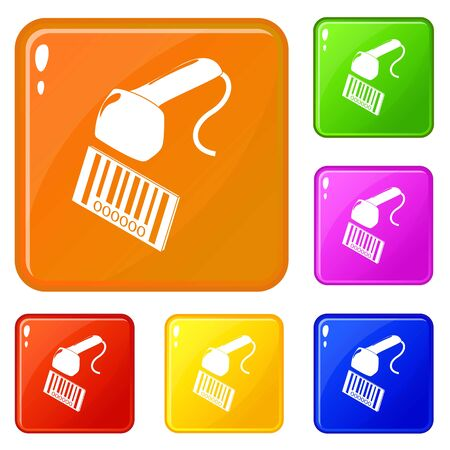 Market code scanner icons set collection vector 6 color isolated on white background