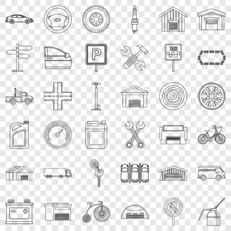 Repair icons set, outline style