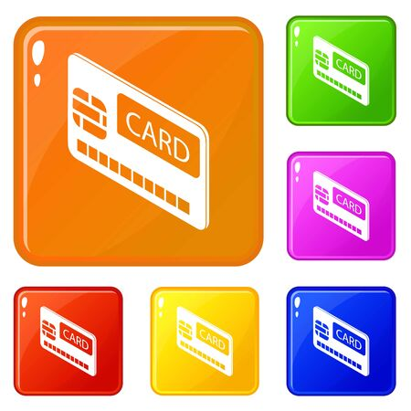 Credit card icons set vector color