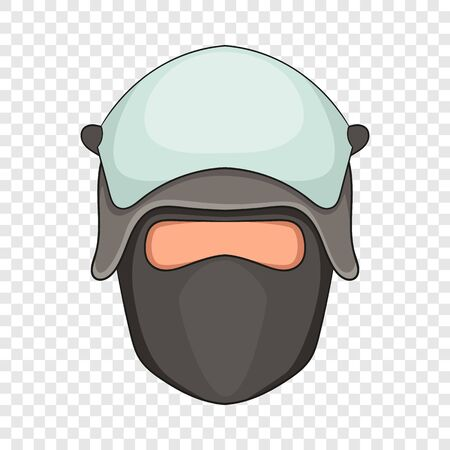Cabeza de policía en un icono de máscara facial, estilo de dibujos animados Ilustración de vector