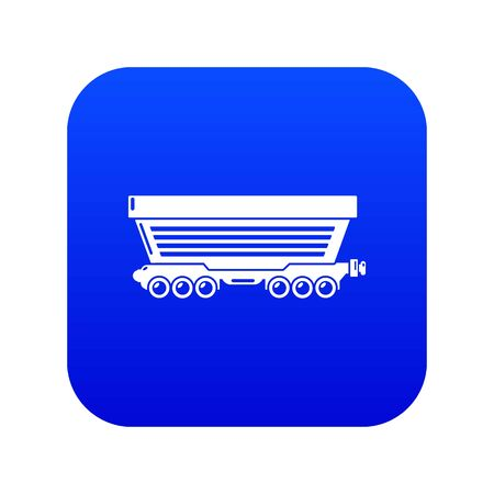Freight car icon blue vector