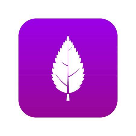 Hornbeam leaf icon digital purple for any design isolated on white vector illustration