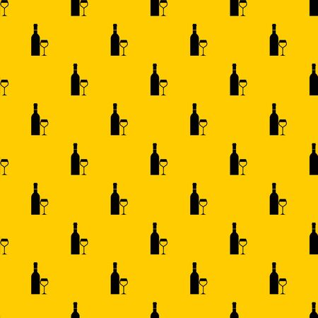 Glass and bottle of wine pattern seamless vector repeat geometric yellow for any design