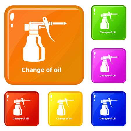 Change oil icons set vector color