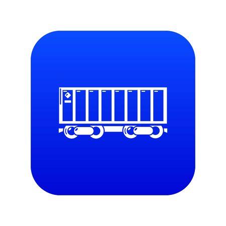 Freight train icon blue vector Illustration