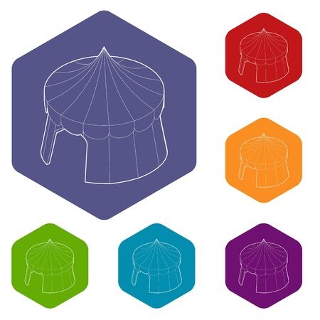 Circus tent icons vector colorful hexahedron set collection isolated on white