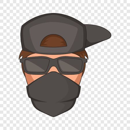 Man in black glasses and scarf on his face icon Illustration