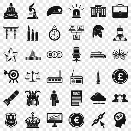 Balance icons set, simple style