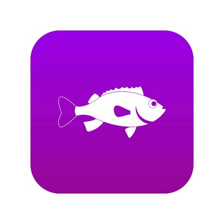 Sea bass fish icon digital purple for any design isolated on white vector illustration Illustration