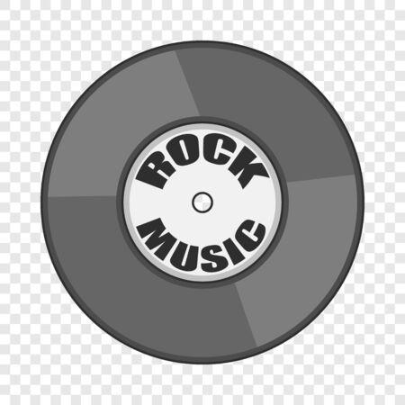 Rock music vinyl record icon. Cartoon illustration of rock music vinyl record vector icon for web