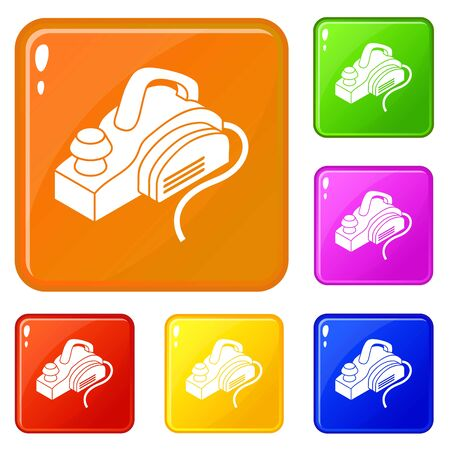 Hand power tool icons set collection vector 6 color isolated on white background