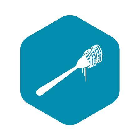 Spaghetti on a fork icon. Simple illustration of spaghetti on a fork vector icon for web