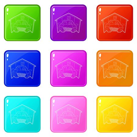 Covered car parking icons set 9 color collection isolated on white for any design