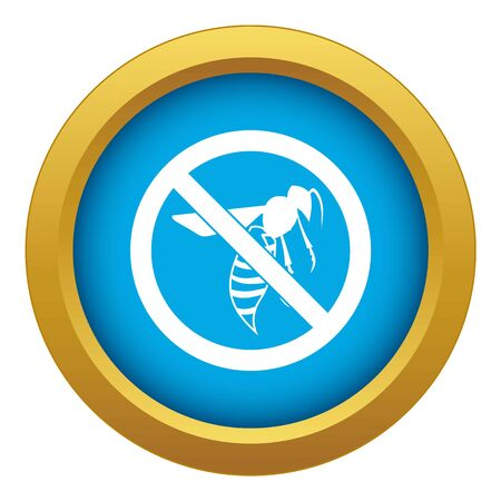 No wasp sign icon blue vector isolated on white background for any design