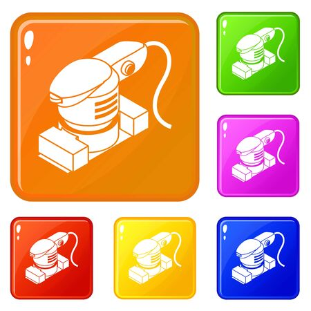 Sheet sander icons set collection vector 6 color isolated on white background
