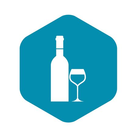 Glass and bottle of wine icon. Simple illustration of wine bottle vector icon for web