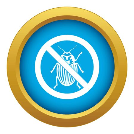 No potato beetle sign icon blue vector isolated Illustration