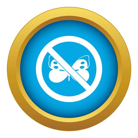 No butterfly sign icon blue vector isolated on white background for any design