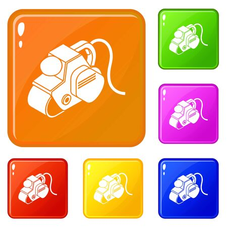 Power tool icons set vector color Illustration
