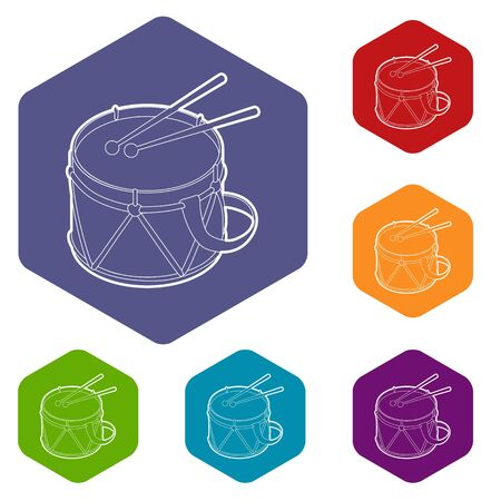Toy drum icons vector colorful hexahedron set collection isolated on white Illustration