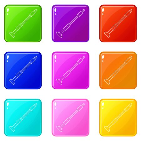 Musical pipe icons set 9 color collection 矢量图像