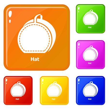 Hat bag icons set collection vector 6 color isolated on white background