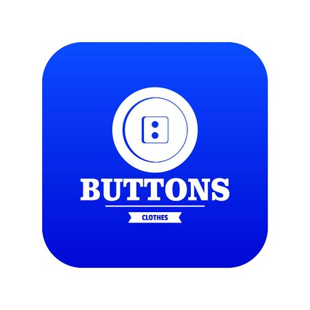 Clothes button textile icon blue vector