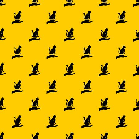 Hand holding a cat pattern seamless vector repeat geometric yellow for any design Banque d'images - 130248844