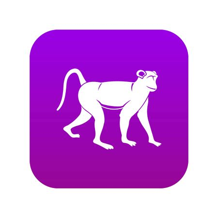 Monkey icon digital purple for any design isolated on white vector illustration