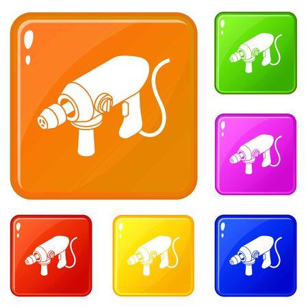 Grande perceuse filaire icons set collection vector 6 couleur isolé sur fond blanc Vecteurs