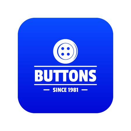Clothes button dressmaking icon blue vector 일러스트