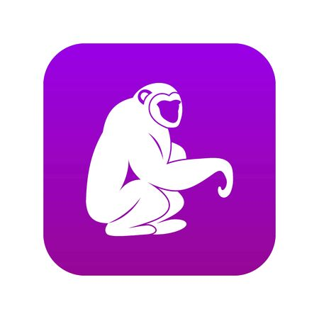 Monkey sitting icon digital purple for any design isolated on white vector illustration