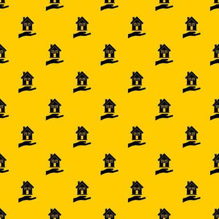 Hand holding house pattern seamless vector repeat geometric yellow for any design 일러스트