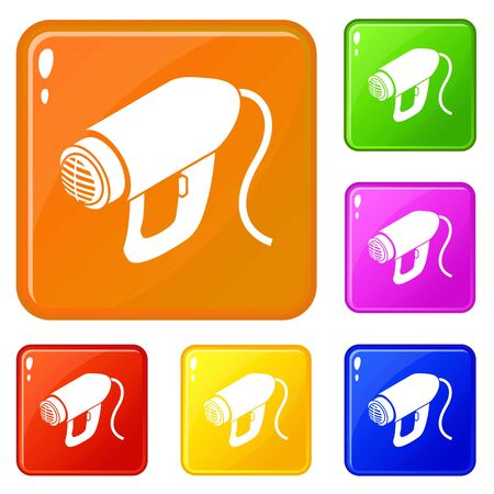 Heat power tool icons set vector color